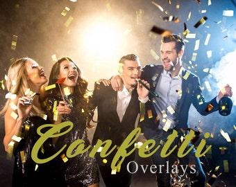 30 Confetti Overlays, Photoshop Overlay,  Blowing Confetti Overlays, Birthday Overlays, Digital Backdrop, Wedding Overlays, Photo Effect