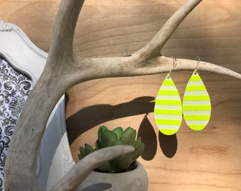 Neon yellow leather teardrop earrings