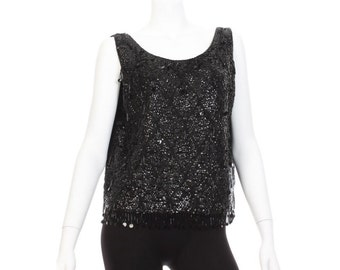 Vintage Black Beaded Tank - Size 40
