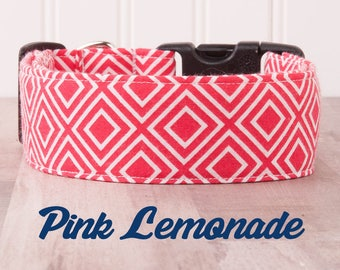 "Hot Pink and White Geometric Diamond Dog Collar for Girls ""Pink Lemonade"""