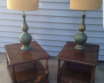 Pair of Hollywood Regency Pretty Gold Green Lamps with barrel shades