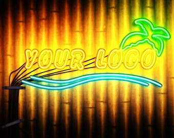 Video Intro or Outro, Beautiful neon sign with flash