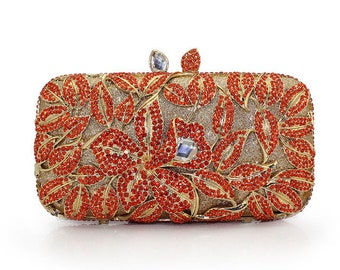 Glamorous orange evening clutch with high quality  Crystals