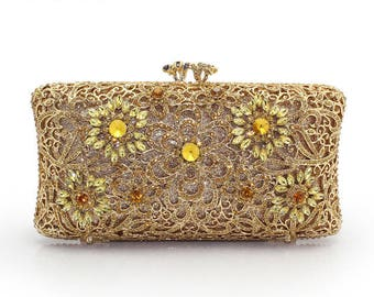 Glamorous gold evening clutch with high Quality Crystals