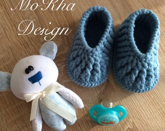 Crocheted baby booties handmade