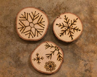 Snowflakes - Wood Burned Ornament (3 Per Set)