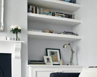 MDF Floating shelf (Square) made to order  upto 2400mm wide x 200mm deep and 36mm thick  INC concealed brackets