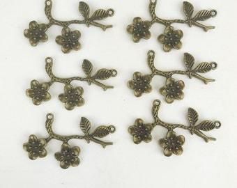 6 Antique Bronze Branch & Flower Connector Charm