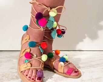 Mykonos Pom Pom sandals