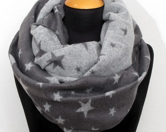 Fine knit loop scarf Snood circle scarf star