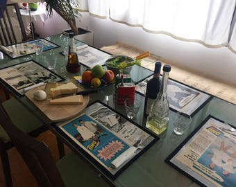Set of 6 Table-mats plasticised. Original Italian advertising '50s. Studio Lintas, Omo.