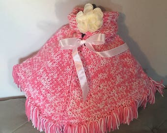 Hand Made Baby Girl Pink Poncho and Headband Set