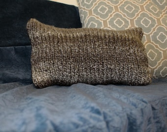 Grey and Black Hand Knit Throw Pillow