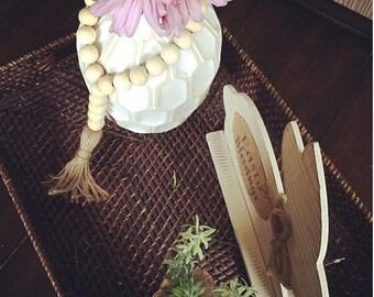Wooden bead decor, vase decor, wooden bead garland, farmhouse beads