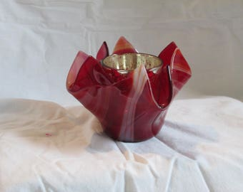 Small red swirl vase/candle holder