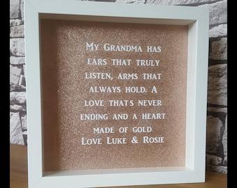 Grandma gift, nan gift, nanna gift, personalised frame, Mother's Day gift.