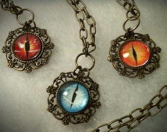 Dragon's eye pendant / necklace, handebamalt