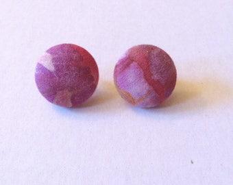 Vintage Purple Button Earrings