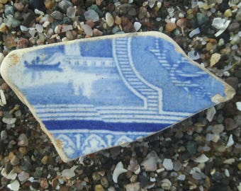 Sea worn lottery piece with boat scene genuine surf tumbled sea glass pottery beach find