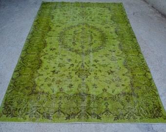 Green Overdyed Rug Etsy