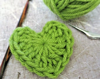 Crochet Hearts Green Size Small 2 Inch Set of 6