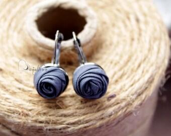 Fabric earrings Rose earrings Little aerrings Gray textile earrings Fabric Flower earrings Floral jewelry Gift for her Small earrings