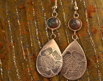 Sterling Silver Etched Earrings with Sonora Sunrise Cabs