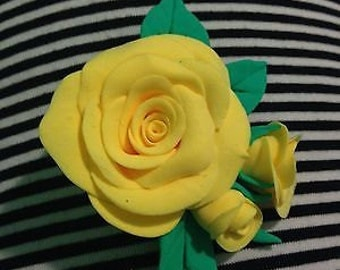 Roses with leaves hair clip