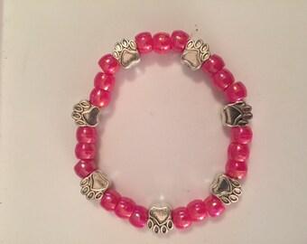 Pink Paw Print Bracelet