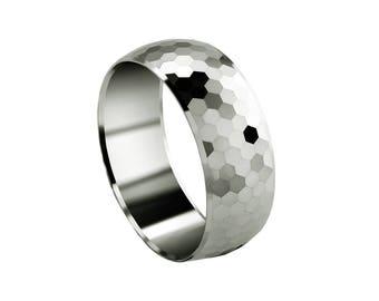 White Gold Wedding Band for him, nature inspired ring, crystal designed, designer finish, 14K, 18K, 10K, comfort fit, stunning modern ring