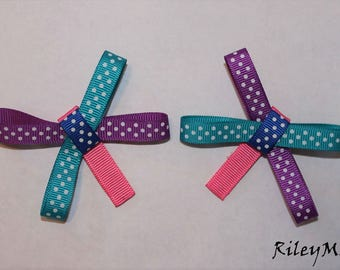 Purple, Teal, Royal Blue Hair Bow With Pink Alligator Clip (Comes with 2)