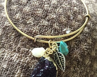 Gold Bangle Bracelet with Purple Crystal Charm Cluster