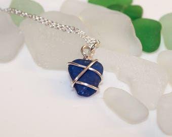 Rare blue sea glass necklace - Vibrant color - Modern style - Authentic Sea Glass Jewelry- summer jewelry - Sterling Silver- dainty necklace