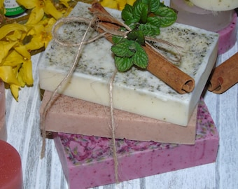 Handmade soaps/ pack of 3 soaps/Laveder,Cinnamon,Mint..Perfect for gift