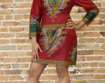 Red Dashiki Mini Dress