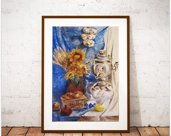 Painting to order Paintings in the interior Painting exclusive Painting with samovar Blue painting Picture with meal Russian art Decor home