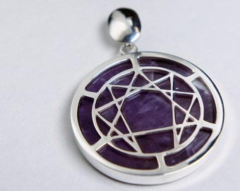 Enneagram Symbol Amethyst and Silver Pendent