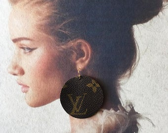 """Authentic Louis Vuitton Monogram Circle """"LV"""" logo Earrings With 14k Plated Gold Hooks Re Purposed,Recycled,Upcycled,Handmade"""