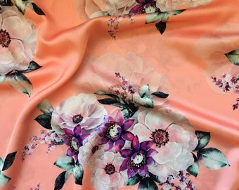 Camellia Flowers on Peach Mulberry Silk Fabric, Floral Silk Fabric, Fabric for Dresses - Free Shipping orders over 35USD!