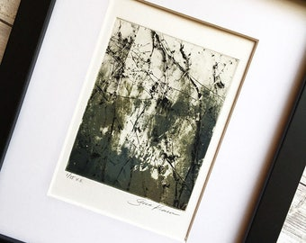 Fine Art Print - Original Etching - Abstract Twisted Vines Painting Print