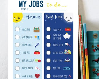 To Do List, Routine Chore Chart for Morning and Bedtime Routines, Custom - Instant Download - Printable planner list, My Jobs to do