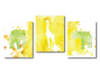 Nursery Animal Watercolor Art, Safari Nursery Decor, Elephant, Giraffe