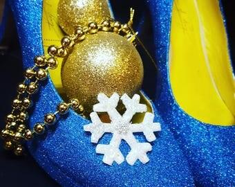 Custom made Blue Glitter Heels