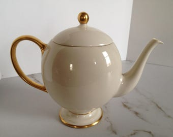 Vintage Franciscan Ivory/White with Gold Band Teapot
