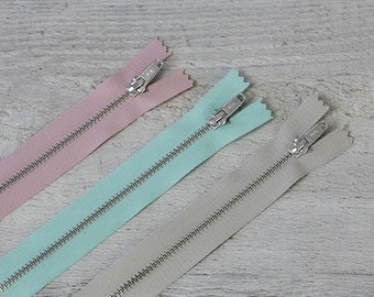 Prym metal zipper silver, 12 cm / 20 cm, pink/turquoise/beige, not divisible