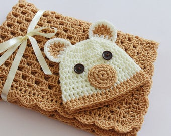 Crochet Baby Blanket / Afghan and Hat Teddy Bear, Toffee Ivory Granny Square Baby Shower Gift Baby Boy Baby Girl