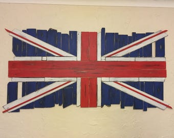 Union Jack flag hand made from wood with a distressed aged patina (150cm x 75cm).