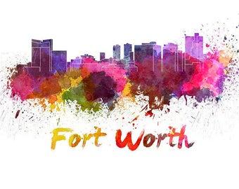 Fort Worth Skyline Watercolor, Fort Worth decor, Fort Worth Texas Skyline,Fort Worth Wall Art, Fort Worth watercolor, Fort Worth Cityscape