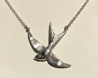 Antique sterling silver swallow bird necklace victorian up-cycled