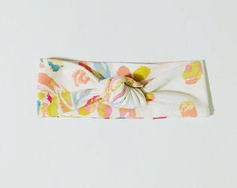 Pink Swirl Floral Top Knot Headband/knotted headband/baby headband/toddler headband/newborn headband/kids headband/adult headband